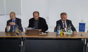 Das Podium mit Prof. Dr. Bovermann, Prof. Dr. Jürgen Mittag und Prof. Dr. Korte